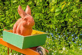 Easter bunny in an old barrow in a garden  — Stock Photo