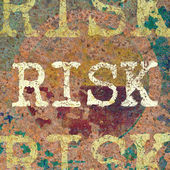 The Risk on rust metal plate texture — Stock Photo