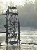 Bamboo water wheel at the Pai River Mae Hong Son, Thailand. — Foto Stock