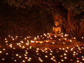 Buddha statue, Light of faith in Makha Bucha Day. — Stock Photo
