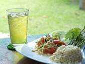 Thai Vegetarian, consists of papaya salad, Lemon grass water, Rice cooked with coconut milk. — Stock Photo