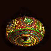 Intricate arabic lamp with lights — Stock Photo