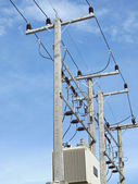 New electric poles and transformer. — Stock Photo