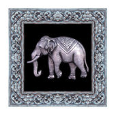 Silver elephant and silver frame handmade,Metal relief work pattern — Stock Photo