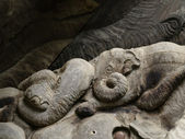 Elephant pattern, Wood carving in a thai temple. — ストック写真