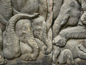 Elephant pattern, Wood carving in a thai temple. — Foto Stock