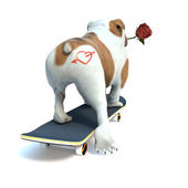Happy valentines day with heart at buttocks dog. — Stock Photo