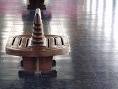 Teak chairs at station platform. — Stock Photo
