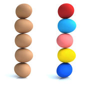 Ad Design with eggs, natural colors and fashion colors. — Stock Photo