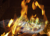 Notes of 100 euro burn down on fire — Stock Photo
