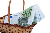 A few notes on 100 euro are in basket — Stock Photo