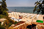 View of the beach of Balchik in Bulgaria from the Palace of the Romanian Queen Maria. — Stock Photo