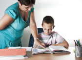 Schoolboy Studying In Classroom With Teacher — Stock Photo