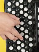 Recorte con un niño tocando el acordeón — Foto de Stock