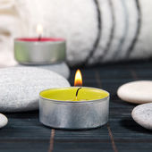 Wellness and spa concept with candles — Stok fotoğraf
