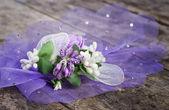 Tablo üzerinde düğün çiçek — Stok fotoğraf