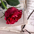 Stock Photo: Red Rose on Old Paper