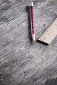 Wooden ruler and pen — Stockfoto