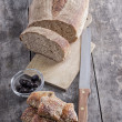 Homemade bread and scones with olives - Stock Photo