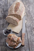 Homemade bread and scones with olives — Stock Photo