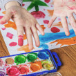 Stock Photo: Child hands painting