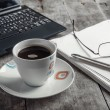 Stock Photo: Morning coffee on the desk