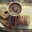 Cookies and coffee on table — Stock Photo #37632765