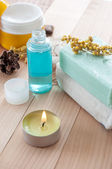 Spa sitting with handmade soaps — Stock Photo