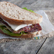 Stock Photo: Sandwich from smoked meat