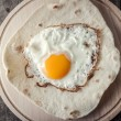 Stock Photo: Fried egg on grilled flour tortilla