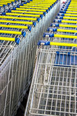 Shopping carts on a parking lot — Stock Photo