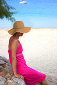 Beautiful  woman  by the beach in Greece — Photo