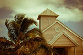 White church and palms — Stock Photo
