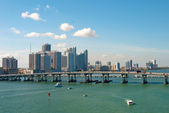 Scenic view on Miami port and bridge — Stock Photo