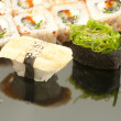 Japanese seafood sushi , roll set closeup — Stock Photo