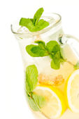 Fresh lemonade from lemon ginger and mint — Stock Photo