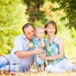 Happy Family Having a Picnic In Summer Park — Stock Photo
