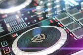 DJ turntable sound mixer in nightclub — Stock Photo