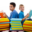 Two young boys reading book — Stock Photo