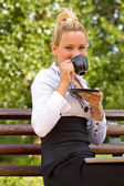 Coffee break in the park — Stock Photo
