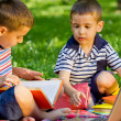 Two young boys in the park — Stock Photo