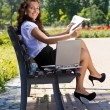 Successful business woman in park outdoor — Stock Photo