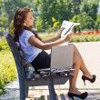 Successful business woman in park outdoor — Stock Photo #27260485