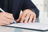 Businessman working with documents sign up contract — Stock Photo