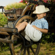 Boy sleeping in garden on the carriage  — Stock Photo