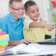 Two young boys at home looking at the laptop — Stock Photo