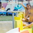 Stock Photo: Two boys having fun in aquapark