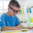 Little scientist with glasses writing  — Stock Photo