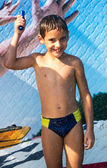 Boy in aqua park — Stock Photo