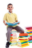 Boy sitting on a pile of books and learn — Stock fotografie